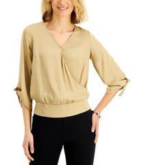 jm collection surplice-neck tie-cuff top, created for macy's