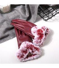 dpnna guanti invernali pesanti caldi in pelle pu foderati di pelliccia di coniglio con touch screen a prova di vento idrorepellenti da sciare