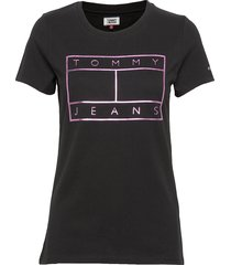 tjw metallic flag tee t-shirts & tops short-sleeved svart tommy jeans