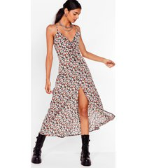 womens tie front midi cami dress in ditsy floral - black