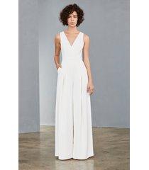 women's amsale mesh back wide leg crepe jumpsuit