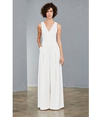 women's amsale mesh back wide leg crepe jumpsuit, size 4 - ivory
