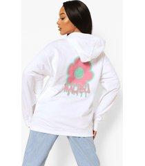 bloemenprint hoodie met rugopdruk, white