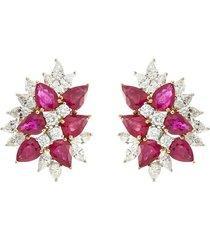 diamond ruby 18k white gold cluster earrings
