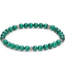 effy men's sterling silver & malachite beaded bracelet