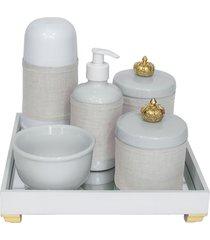 kit higiene espelho completo porcelanas, garrafa pequena e capa coroa dourado quarto beb㪠 - dourado - dafiti