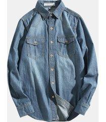 tasche petto denim lavato in jeans jeans giacca collo alto collo manica lunga camicia