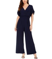 jessica howard petite ruched wide-leg jumpsuit