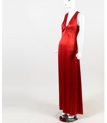 roma red silk v neck draped sleeveless gown