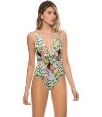 vestido de baño de una pieza detalle crocheta tropical kibys