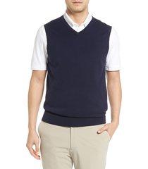 men's big & tall cutter & buck lakemont v-neck sweater vest, size lt - blue