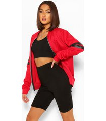 stripe arm bomber jacket, red