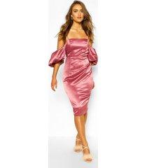boohoo gelegenheid satijnen midi-jurk met extreme pofmouwen, rose