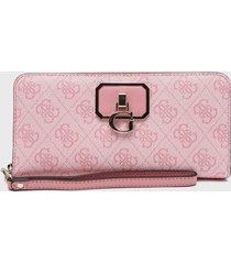 billetera alisa slg large zip around rosa guess