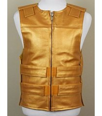 platinum gold - leather - bulletproof style motorcycle vest