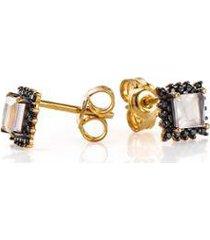 brinco de ouro joiasgold 18k quartzo rosa com espinelio