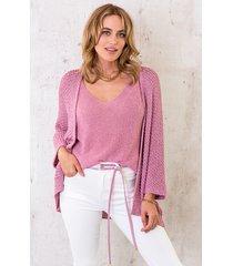 lurex vest loose fit pink