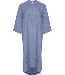 tiffany tiffany lång linne skjortklänning denim blå, 18970