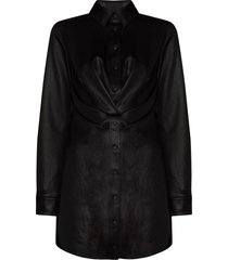 rta vivienne buttoned shirt dress - black