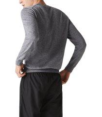 men's lacoste solid cotton jersey crewneck sweater, size 4 - grey