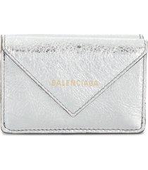 balenciaga papier mini wallet - silver