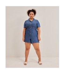 macacão com bolsos e botões em jeans liocel curve & plus size | ashua curve e plus size | azul | eg
