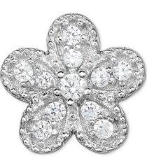 diamond accent flower single stud earring in 14k white gold