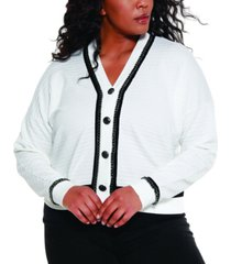 belldini black label women's plus size button down cardigan with chain detail