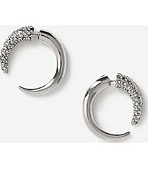 *pave horn front back earrings - clear