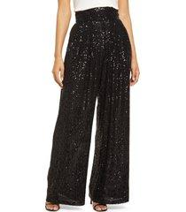 women's eliza j women's sequin flowy pants, size 6 - black