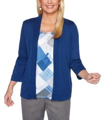 alfred dunner sapphire skies diamond-print layered-look sweater