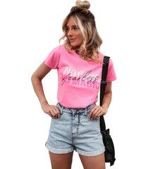 blusa in love t-shirt sem risco rosa neon