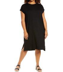 plus size women's eileen fisher crewneck jersey shift dress, size 3x - black