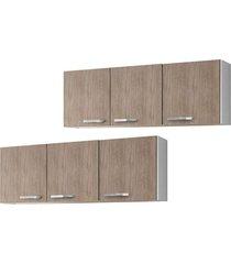 kit 2 armários aéreos parma 150cm 3 portas branco/castanho - lumil móveis