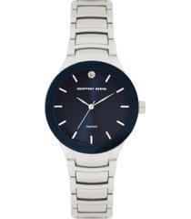 geoffrey beene navy dial & bezel genuine diamond dial bracelet watch
