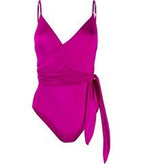 stella mccartney tie-waist wrap swimsuit - purple