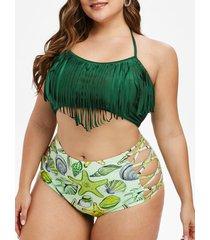 plus size starfish print fringed criss cross tankini swimwear