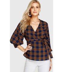 yoins azul marino cinturón diseño blusa de cuadrícula con cuello en v y medias mangas