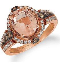 le vian women's chocolatier® 14k strawberry gold®, peach morganite™, chocolate diamond® & vanilla diamond® ring - size 7