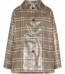 kassl editions point-collar coated check coat - brown