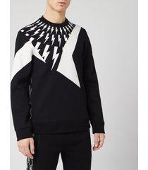 neil barrett men's cut and sew sweatshirt - black/white - xl