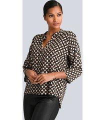 blouse alba moda zwart::beige