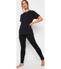 basic mix & match pyjama top, black