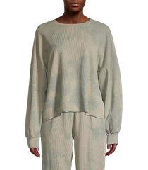 lucca women's waffle-knit tie-dye pullover - mint tie dye - size l