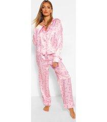 babygirl satijnen pyjama broek set, roze