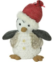 """northlight 12"""" plush christmas sitting penguin in faux fur vest and red beanie santa hat"""