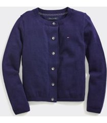 tommy hilfiger girl's adaptive classic cardigan evening blue - m