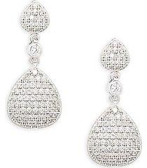 sterling silver, platinum & simulated diamond drop earrings