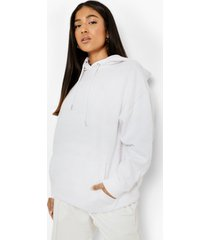 petite oversized gerecyclede hoodie, white