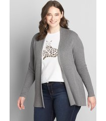 lane bryant women's open-front ribbed cardigan 10/12 charcoal heather grey